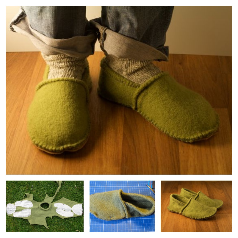 DIY Slippers from an Old Sweater -10
