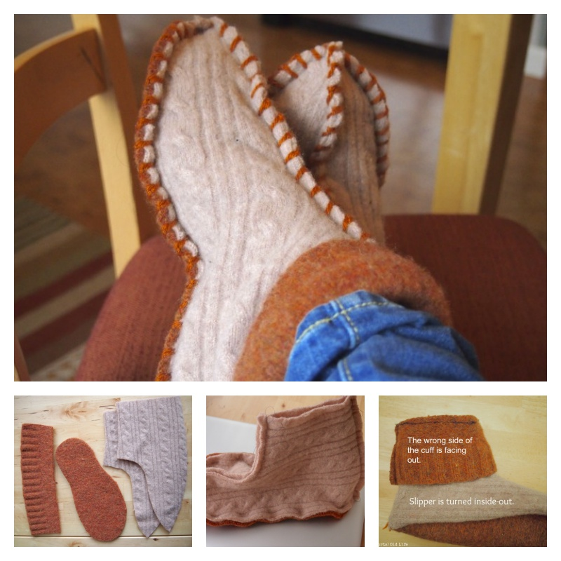 DIY Slippers from an Old Sweater -11