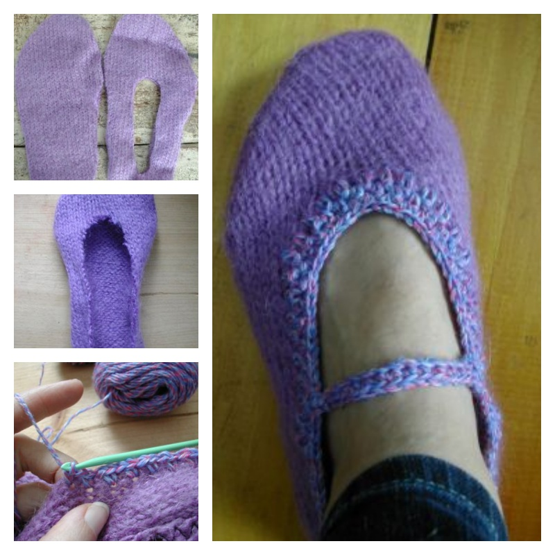 DIY Slippers from an Old Sweater