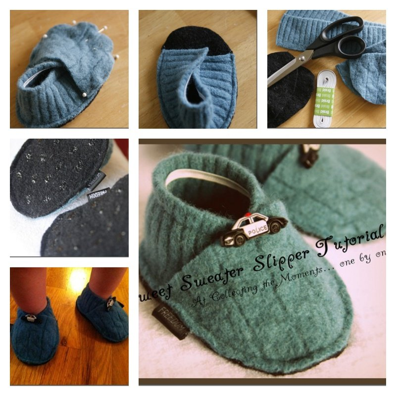 DIY Slippers from an Old Sweater -9