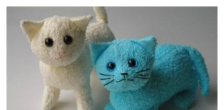 DIY Terry Cloth Cats with Free Pattern