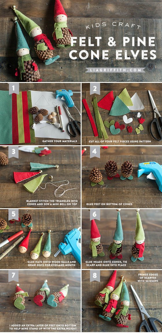 Diy Felt And Pine Cone Elves With Free Pattern