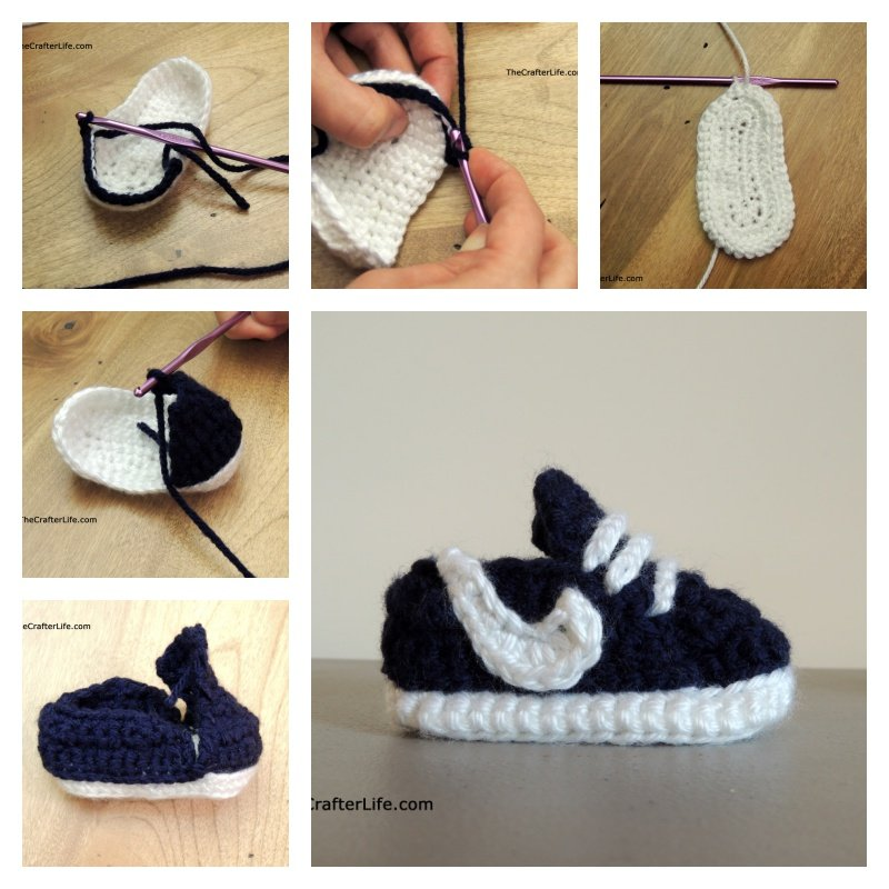 Crochet Baby Booties Nike Pattern : How to Crochet Nike Baby Sneakers with Free Pattern
