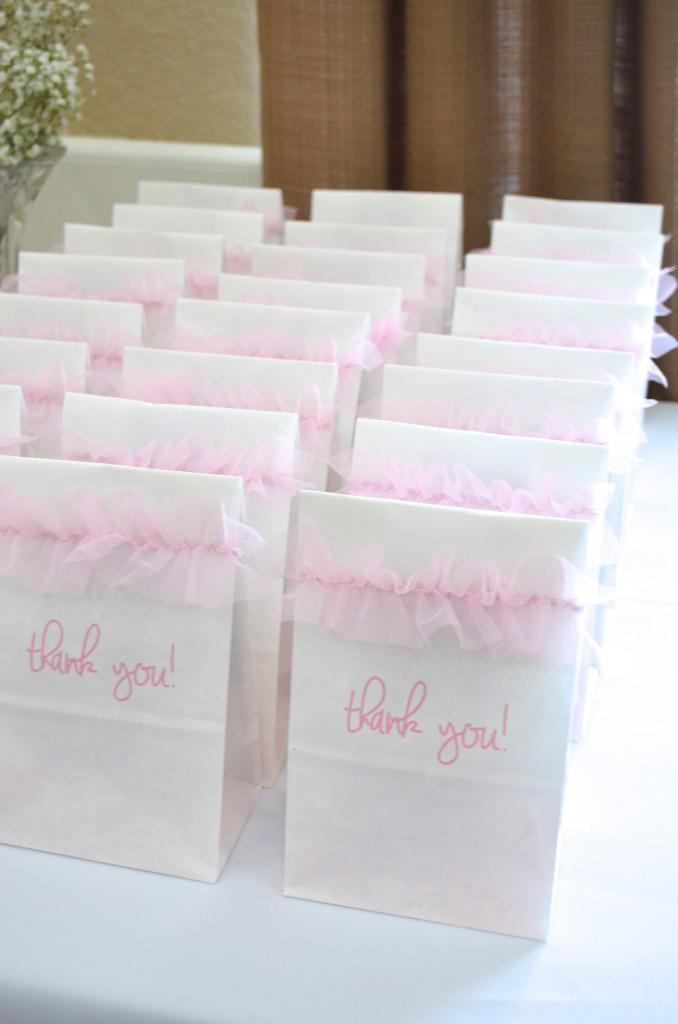 Pink Tulle Ribbon Goodie Bags