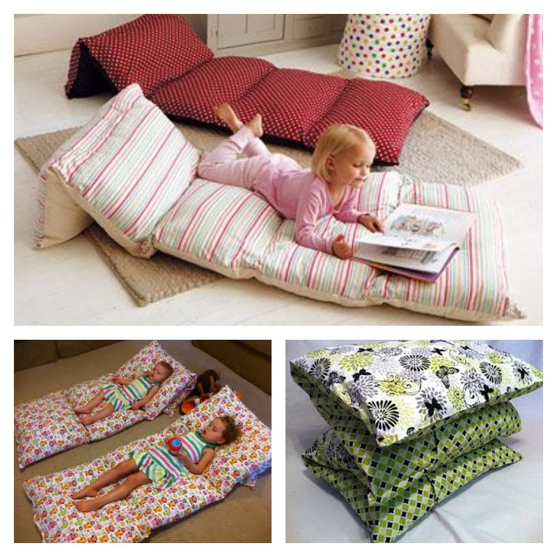 Sew pillowcases together to make floor cushions for Cheap kids pillows