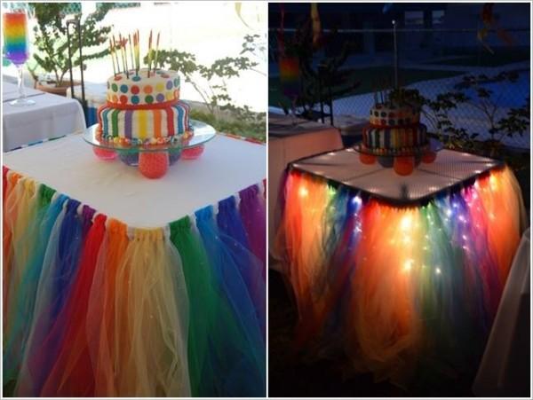 Sparkle Rainbow Fairy Lights Tulle Table Skirt