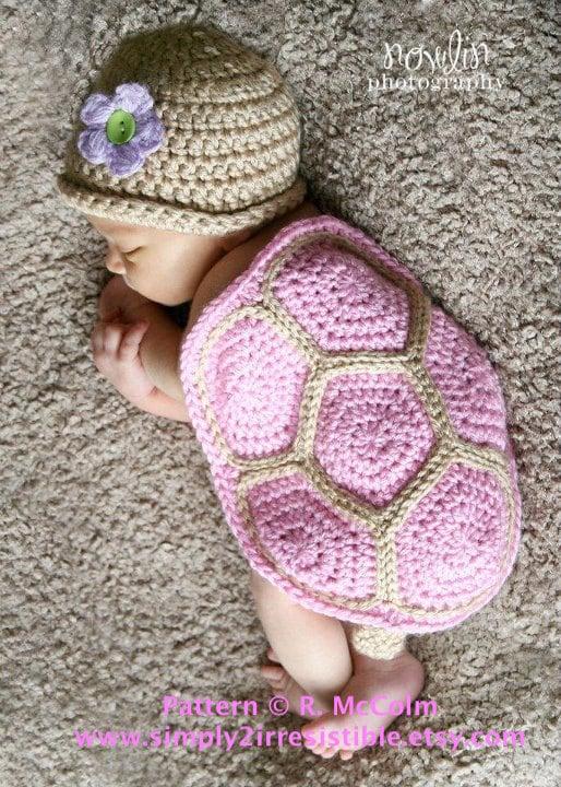 Crochet Turtle Newborn Photo Prop with Pattern