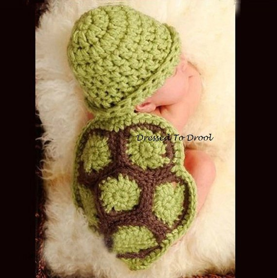 Crochet Turtle Newborn Photo Prop