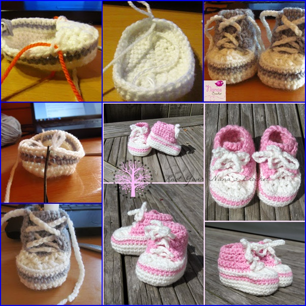 Crochet High Top Booties Free Pattern : Crochet Cute Baby Converse Booties