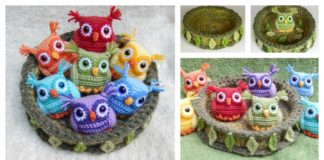 Crochet Nesting Rainbow Owls with Free Pattern