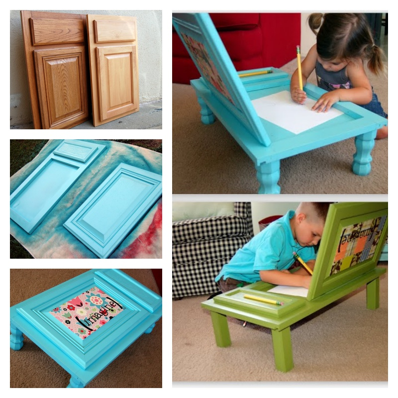 DIY Child's Art Desk Made Out of Old Cabinet Door
