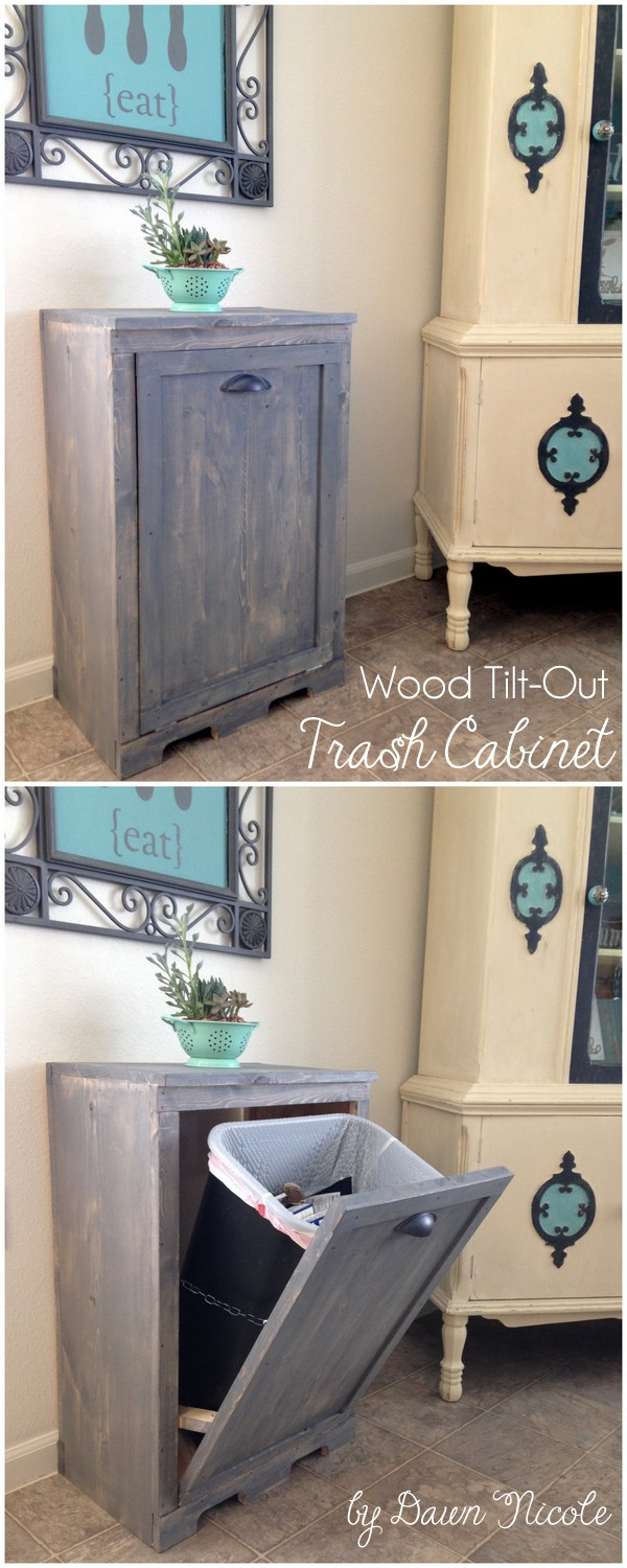 DIY Wood Tilt-Out Trash Can Cabinet