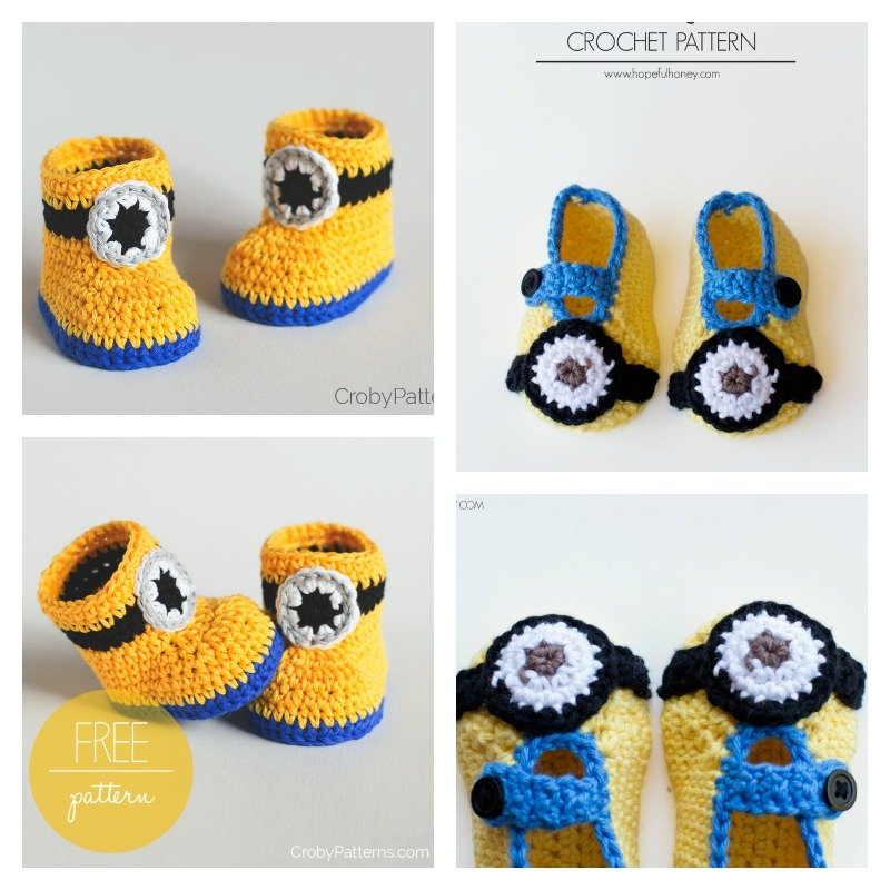 Free Crochet Pattern Minion Baby Booties : Minion Crochet Booties with Free Pattern