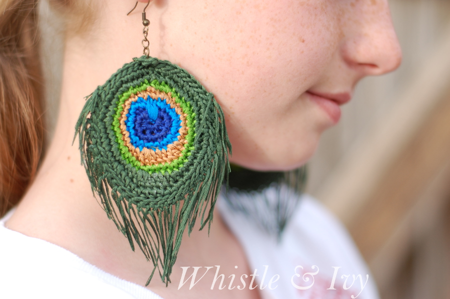 Peacock Feather Earrings Free Crochet Pattern Cool Creativities