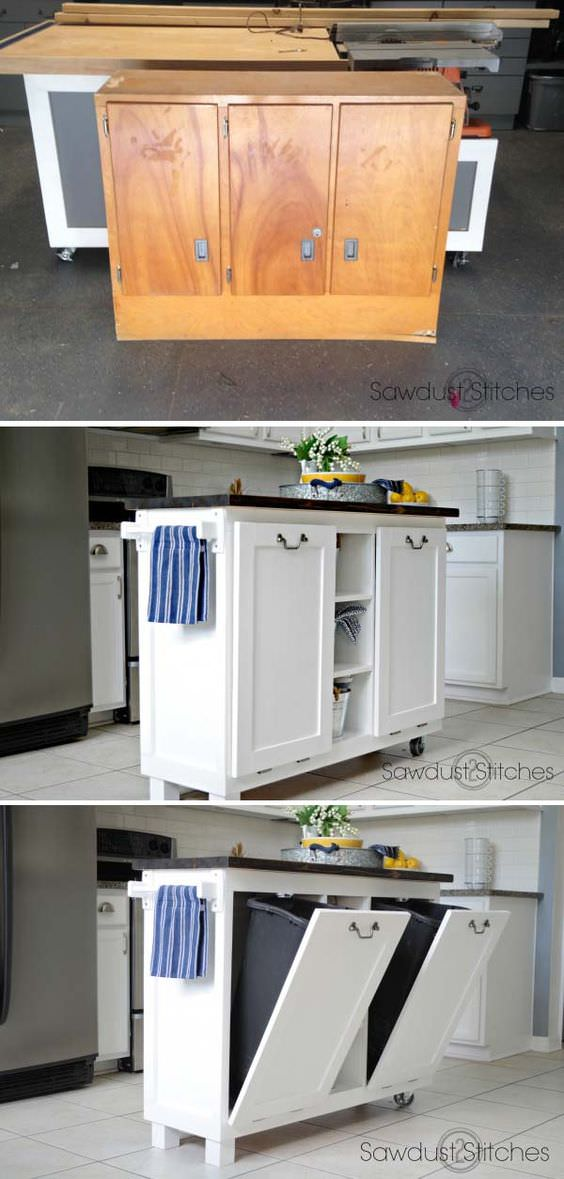 How to Turn Cabinet into kitchen island with tilt-out trash can