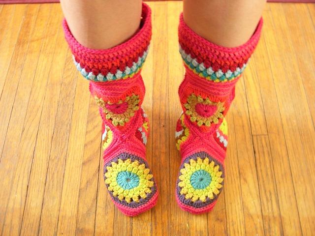 Crochet Hexagon Slipper Boots with Pattern