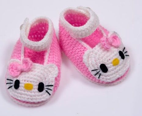 crochet baby hello kitty booties