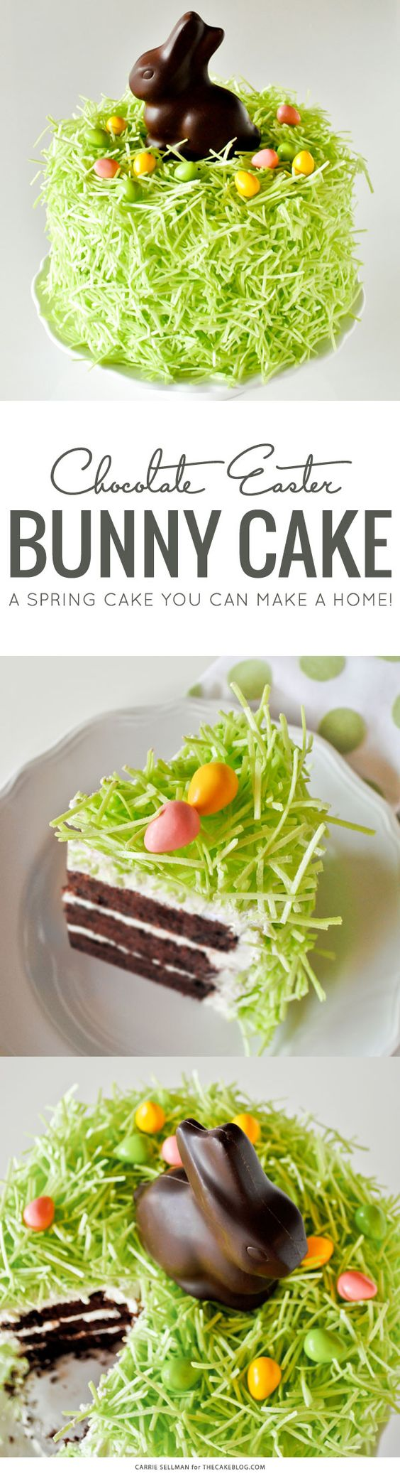 Chocolate Easter Bunny Cake.Fluffy green grass topped with a chocolate Easter bunny and candy eggs. Simply adorable! #Easter #Food #Cake #Bunny