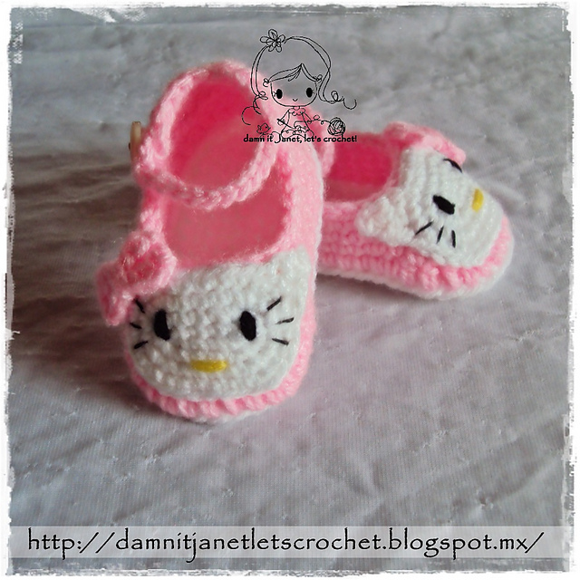 Crochet Hello Kitty Booties with Pattern