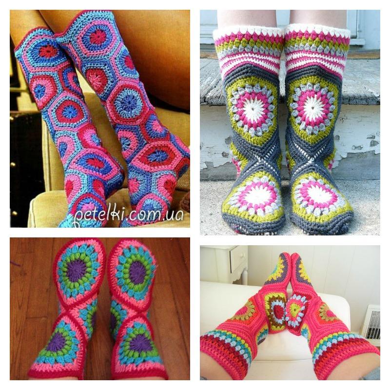 Crochet Hexagon Slipper Boots with Pattern 1