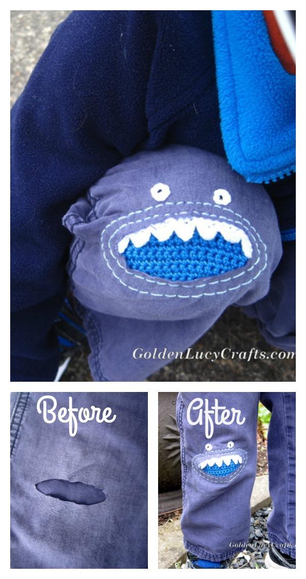 Crochet Monster Knee Patch Free Pattern