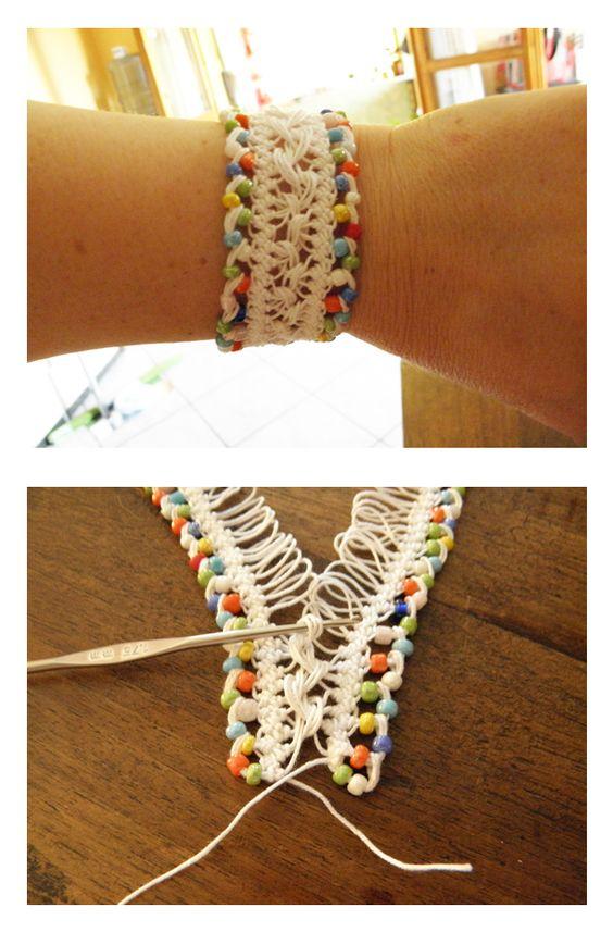 Crochet Lace Patterns Step By Step : Crochet Pretty Bracelets with Patterns