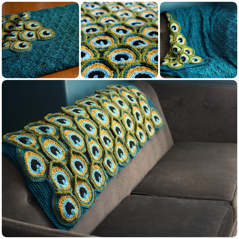 Crochet pretty peacock blanket