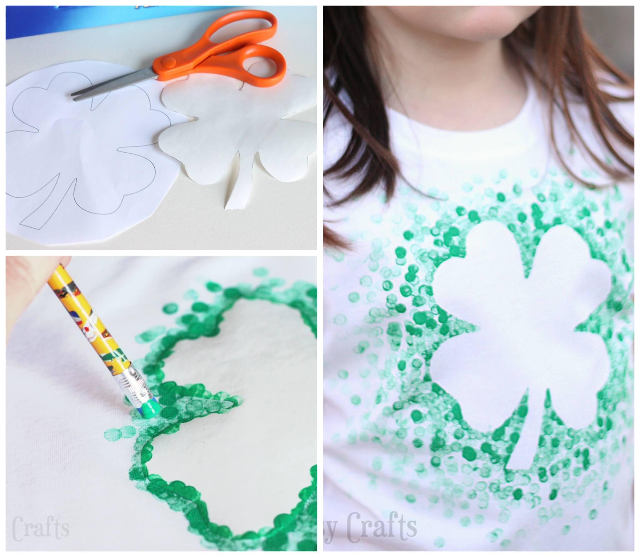 DIY Eraser-Stamped St. Patrick's Day Shirt
