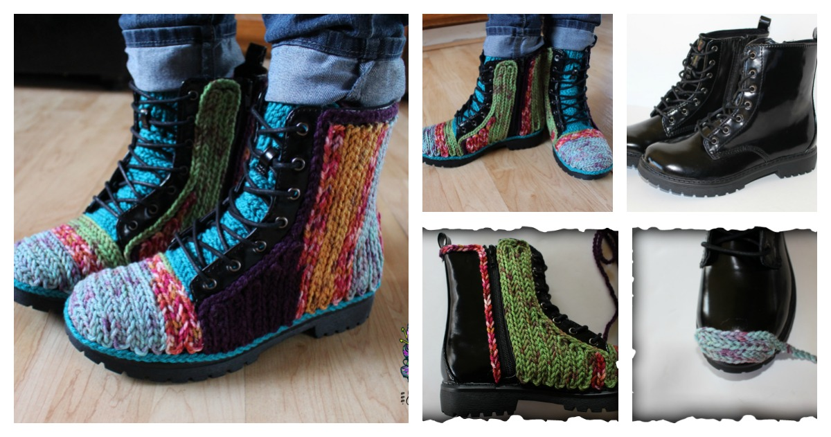 DIY Unique Faux Crochet Outdoor Boots
