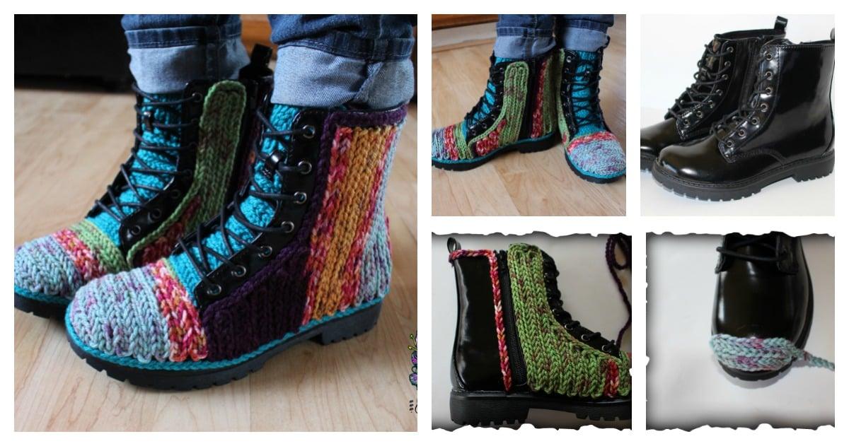 DIY Unique Faux Crochet Outdoor Boots