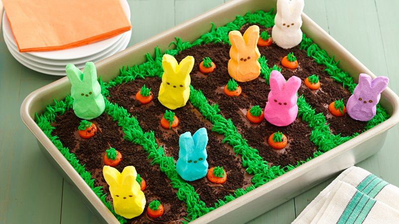 Easter Garden Cake. This festive Easter bunny garden cake is quick and easy to make. Kids can help decorate. #Easter #Food #Cake #DIY