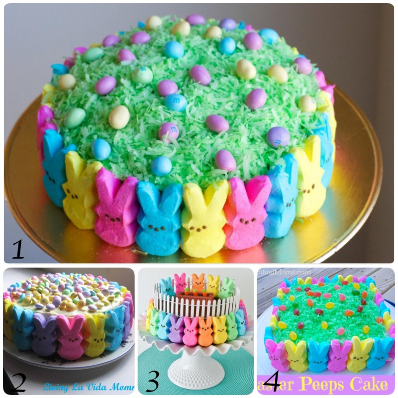 Easter Peep Cake This beautiful Easter cake was so easy and fun to make! Kids will love helping. #Easter #Cake #DIY #Food