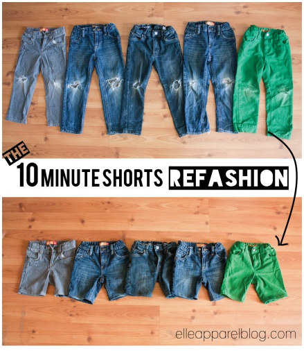 Super easy tutorial on refashioning kids worn-out jeans into shorts