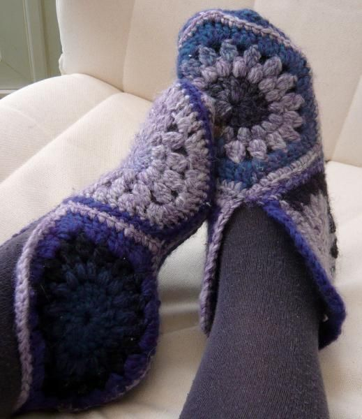 Crochet Granny Square Slipper Pattern : Crochet Hexagon Slipper Boots