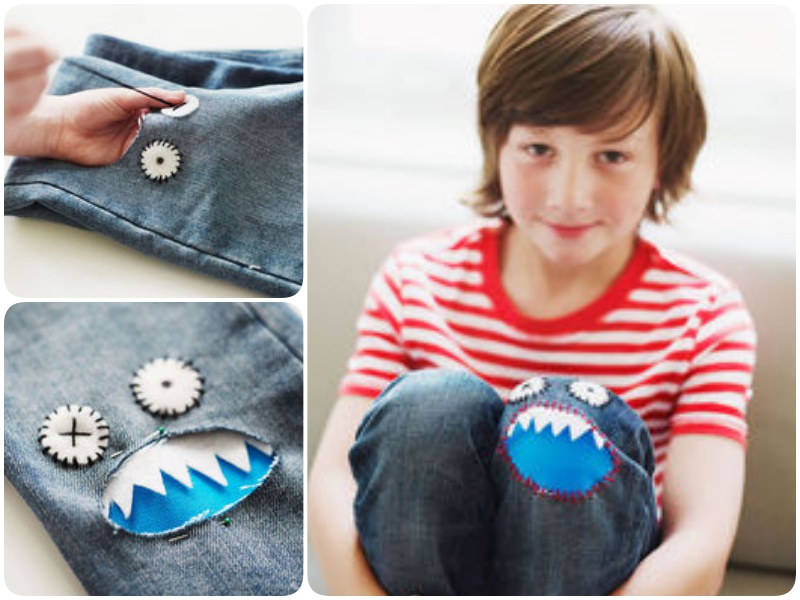 Sew a Monster Patch on Jeans