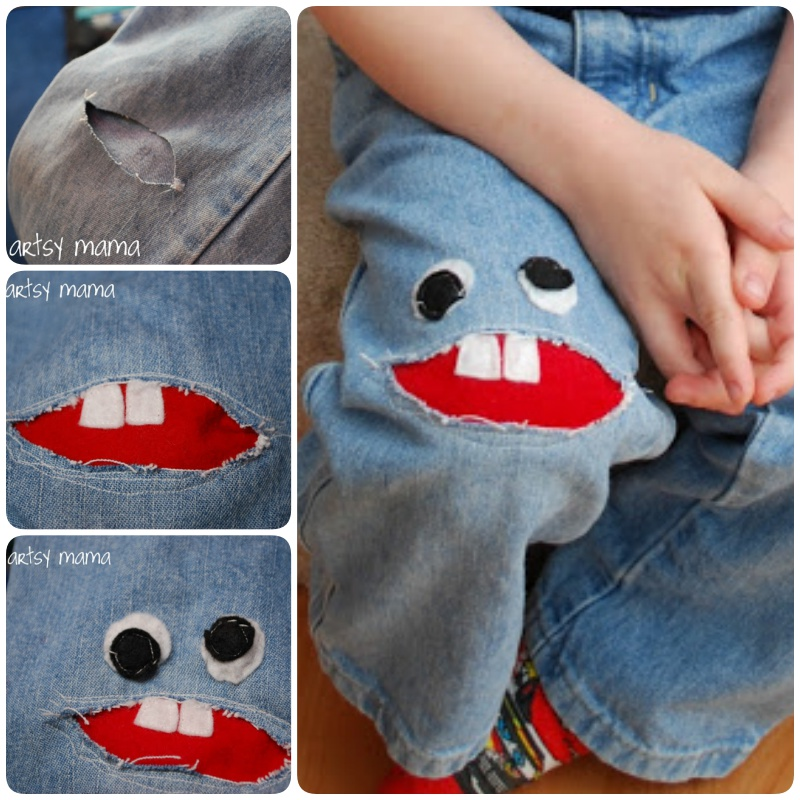Sew a little Monster Patch on Jeans