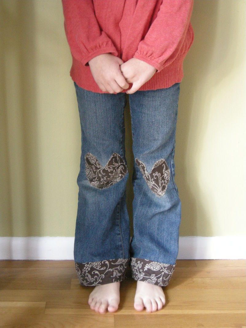 This is a creative solution for pants that have holes in the knees and are too short