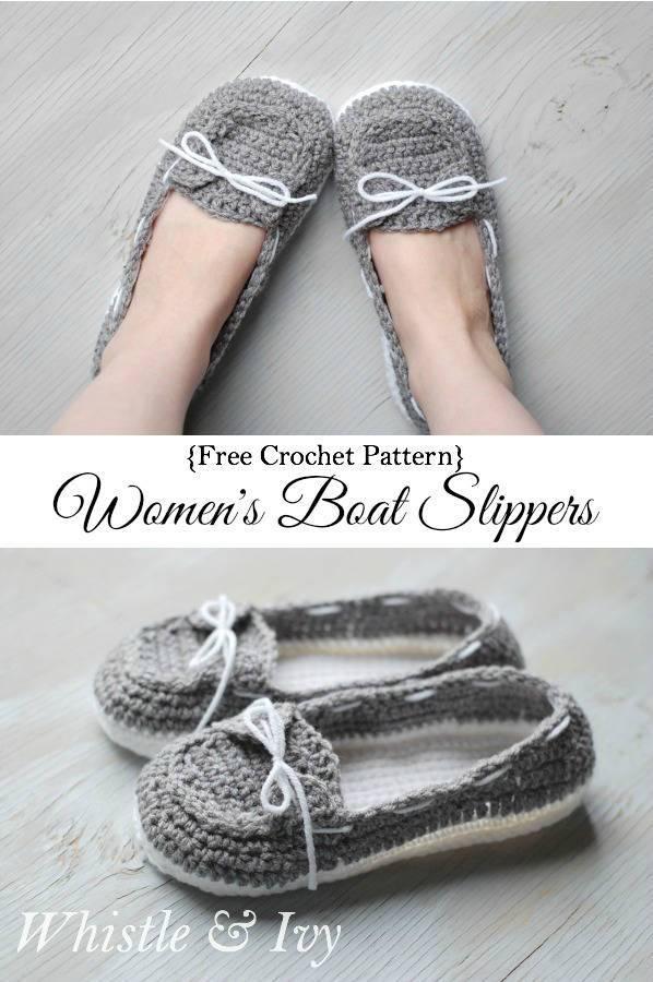 Women's Crochet Boat Slippers