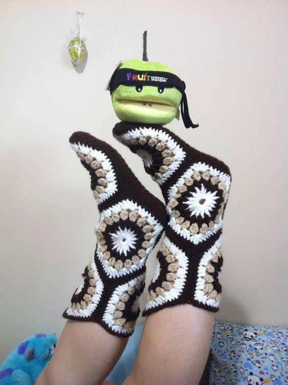 crochet Hexagon Boot Slippers 1