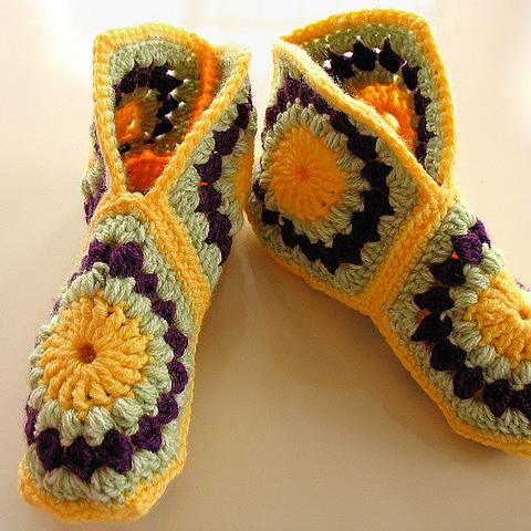 crochet Hexagon Boot Slippers