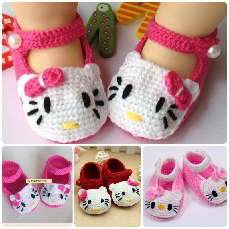 crochet hello kitty bootie shoes