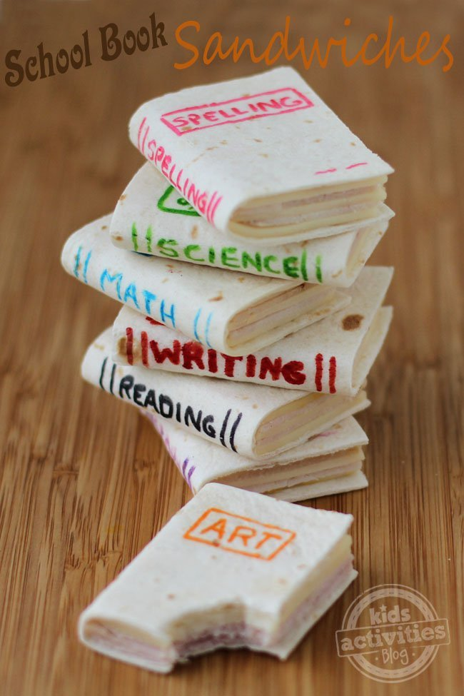 Creative Sandwich Ideas school-book-sandwiches-for-kids