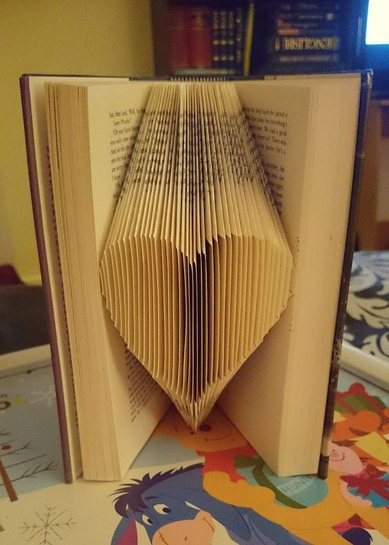 Folded Heart Shaped Book Art. Recycled Book Art Ideas. #Art #Folded