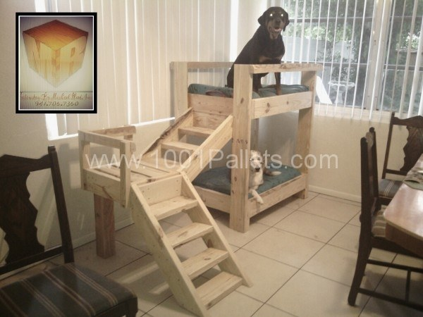 20+ Adorable DIY Pet Bed Ideas-DIY Doggy bunkbeds made out of pallets