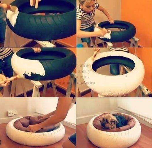 20+ Adorable DIY Pet Bed Ideas-DIY Tire Pet Bed