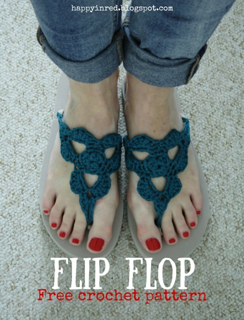 Crochet Patterns Using Flip Flops : 18 Crochet Flip Flops with Free Pattern
