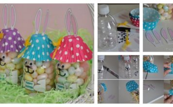DIY Cute Easter Bunny Treat out of Plastic Bottle