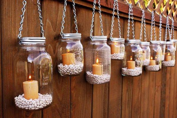 DIY Hanging Mason Jar Tea Light Lantern to Add a Romantic Glow to Your Patio cool creativity
