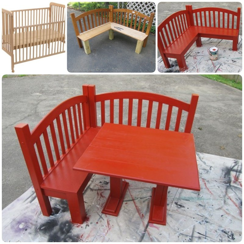 DIY Kids Corner Bench And Table Set Upcycled Crib Idea