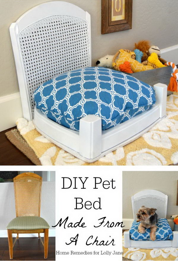 20+ Adorable DIY Pet Bed Ideas-DIY Pet Bed Made From A Chair